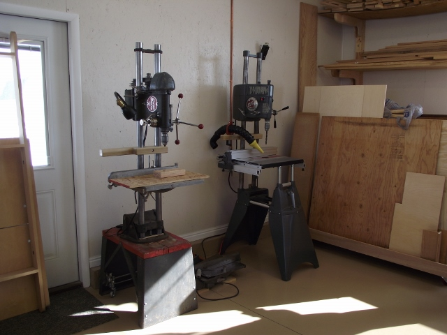 John Burger's drill presses; notice the one on the left is made from an old 10ER, circa 1950.