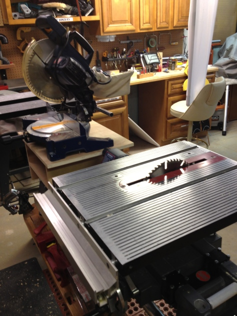 The Mark 7 set up as the table saw with a chop saw attachment.